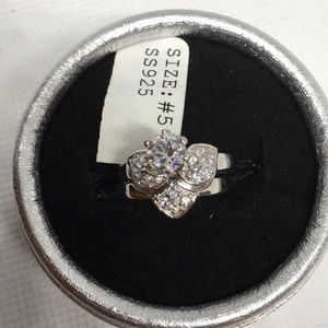 2Pc AAA 925 Stamped Sterling Silver Ring Set SZ 5